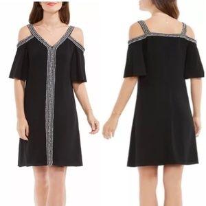 NWT Vince Camuto Black Cold Shoulder Midi Dress